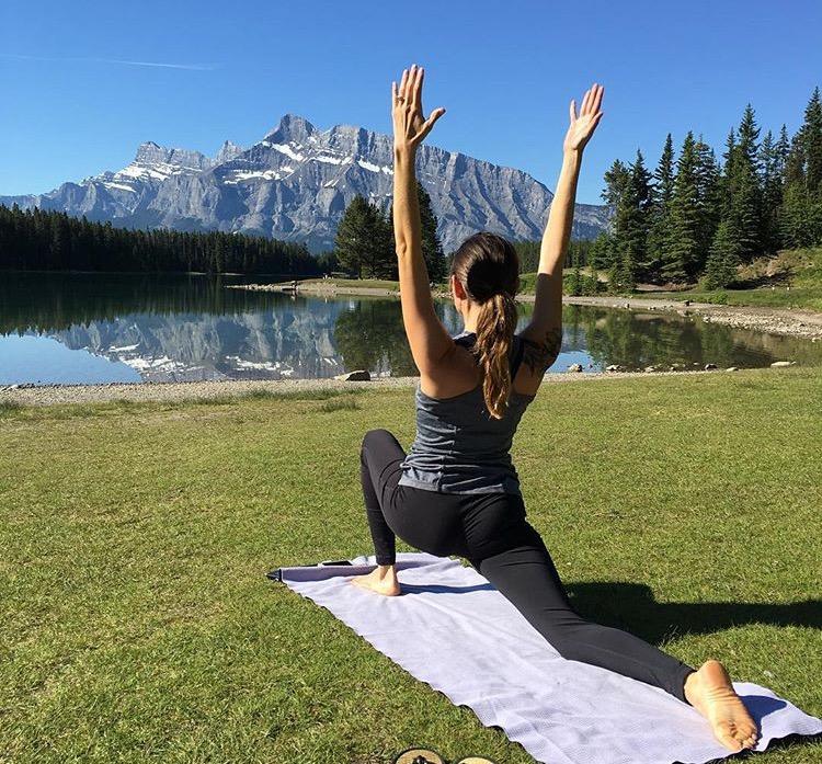 Morning Yoga at Two Jack Lake in Banff